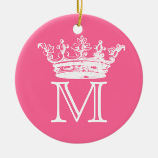 Vintage Crown Monogram Christmas Ornament