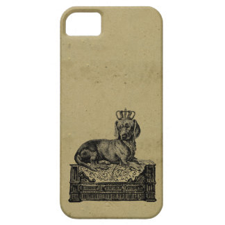 Vintage crowned dachshund dog drawing shabby chic iPhone 5 cases