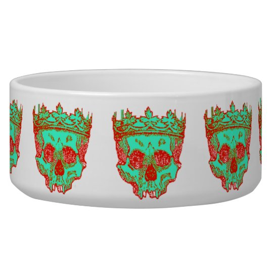 Vintage Crowned Skulls Pet Water Bowl