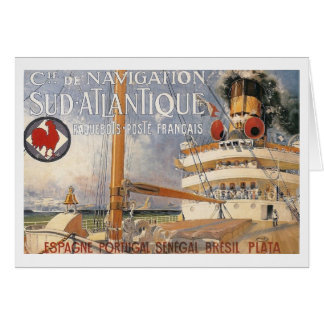 Vintage Cruise Ship Bon Vayage Travel Greeting Card