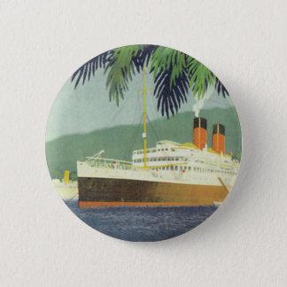 Vintage cruise ship illustration 6 cm round badge