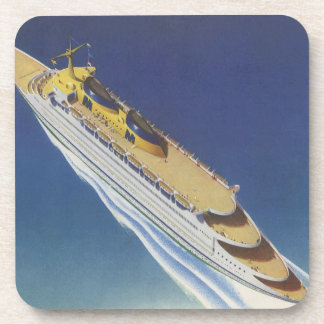 Vintage Cruise Ship in the Ocean Seen from Above Coaster