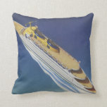 Vintage Cruise Ship in the Ocean Seen from Above Cushions