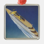 Vintage Cruise Ship in the Ocean Seen from Above Ornaments