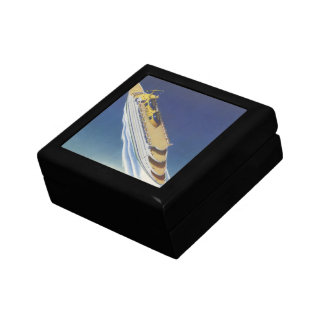 Vintage Cruise Ship in the Ocean Seen from Above Keepsake Boxes