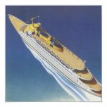 Vintage Cruise Ship in the Ocean Seen from Above 13 Cm X 13 Cm Square Invitation Card