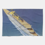 Vintage Cruise Ship in the Ocean Seen from Above Hand Towel