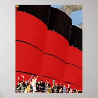 Vintage Cruise Ship Passengers Waving Goodbye