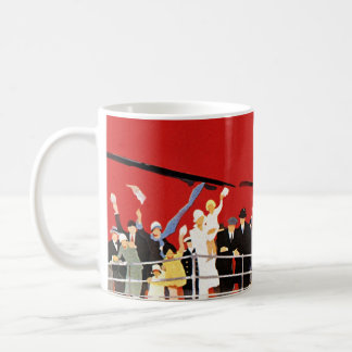 Vintage Cruise Ship Passengers Waving Goodbye Coffee Mug