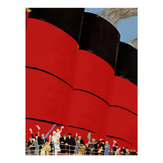 Vintage Cruise Ship Passengers Waving Goodbye Poster