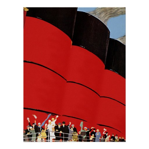 Vintage Cruise Ship Passengers Waving Goodbye Posters