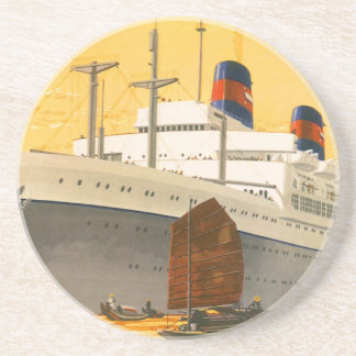 Vintage Cruise Ship to the Orient with Junks Boats Beverage Coasters