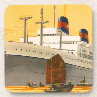 Vintage Cruise Ship to the Orient with Junks Boats Drink Coasters