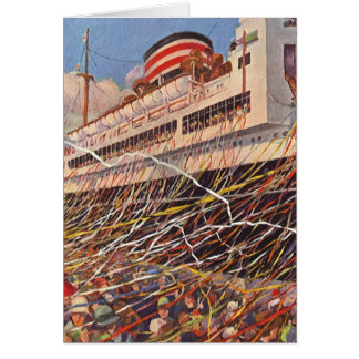 Vintage Cruise Ship Vacation; Bon Voyage Party! Card