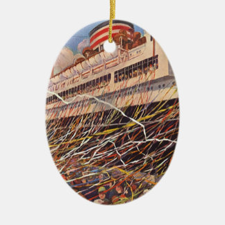 Vintage Cruise Ship Vacation; Bon Voyage Party! Christmas Ornament