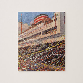 Vintage Cruise Ship Vacation; Bon Voyage Party! Jigsaw Puzzle