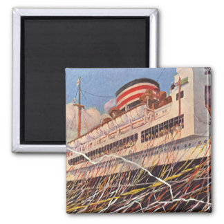 Vintage Cruise Ship Vacation; Bon Voyage Party! Square Magnet