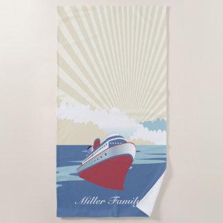 Vintage cruise ship with custom name beach towel