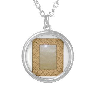 VINTAGE Crystal Frame Round Pendant Necklace