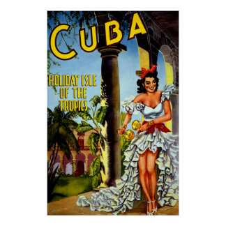 Vintage Cuba Travel Poster - Holiday Isle Tropics