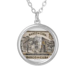 Vintage Cuban Bank of Cuba of Cuba Round Pendant Necklace