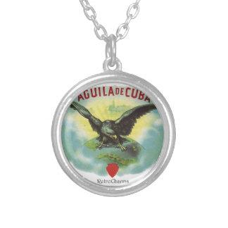 Vintage Cuban Eagle of Cuba Round Pendant Necklace