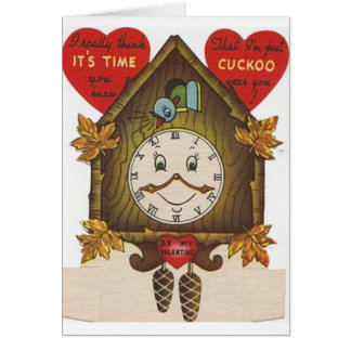 Vintage Cuckoo Clock Valentine s Day Card