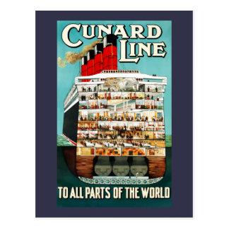 Vintage Cunard Line Ocean Liner Travel Postcard