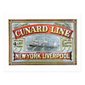 Vintage Cunard Line Sailing New York to Liverpool Postcard