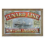 Vintage Cunard Line Sailing New York to Liverpool Poster