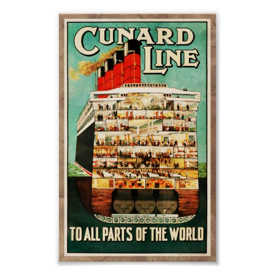 Vintage Cunard Line Sea Travel Advert Poster