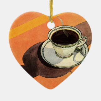 Vintage Cup of Coffee, Saucer, Spoon with Shadow Ceramic Heart Decoration
