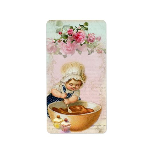 Vintage Cupcake Baker #1 Gift Label Address Label