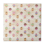 Vintage Cupcakes Small Square Tile