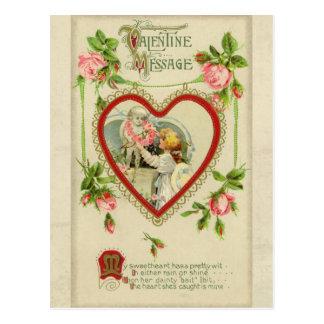 Vintage Cupid and Heart Valentine Postcard