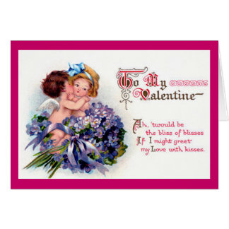 Vintage Cupid and Violets Valentine Card