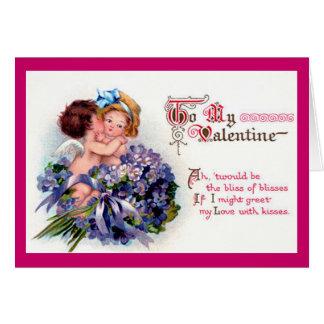 Vintage Cupid and Violets Valentine Card