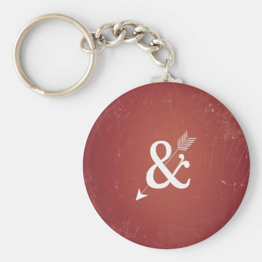 Vintage Cupid Arrow Retro Love Sign On Antique Red Keychains