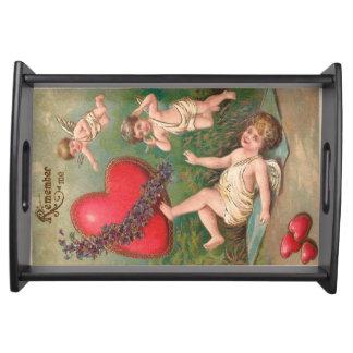 Vintage Cupid Cherub Red Hearts Valentine Postcard Serving Tray
