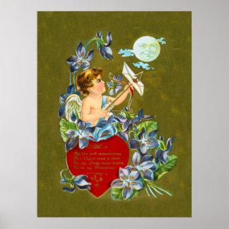 Vintage Cupid & Moonbeam Valentine Poster