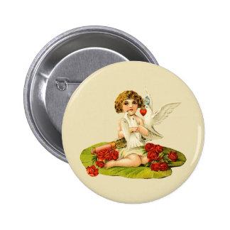 Vintage Cupid on Lily Pad 6 Cm Round Badge