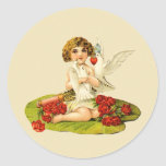 Vintage Cupid on Lily Pad Classic Round Sticker