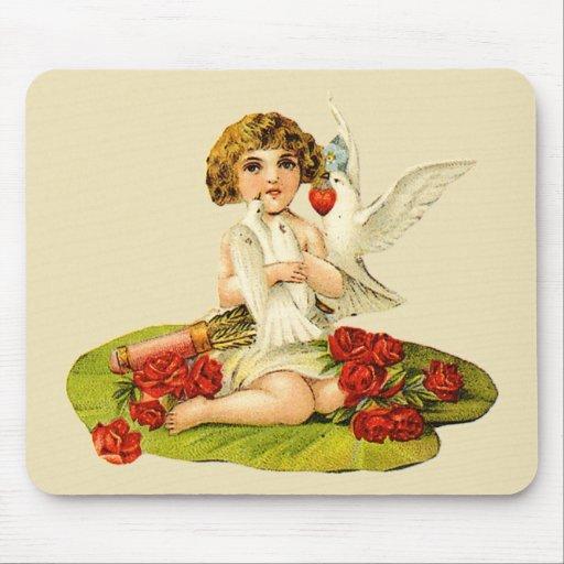 Vintage Cupid on Lily Pad Mouse Pad