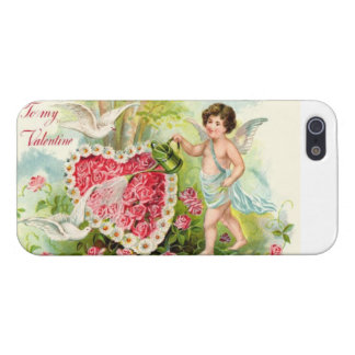 Vintage Cupid watered flowers heart iPhone 5 Covers