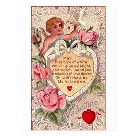 Vintage Cupid With Dove And Love Letter Postcard