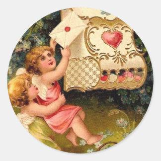 Vintage Cupids Angels Valentines Heart Stickers Se