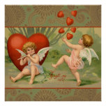 Vintage Cupids on Valentines Day with Hearts Poster