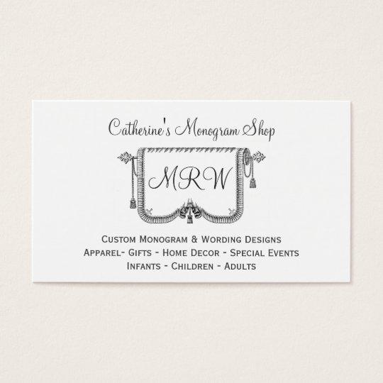 Vintage Curtain Tassle Frame Monogram Design Shop Business Card