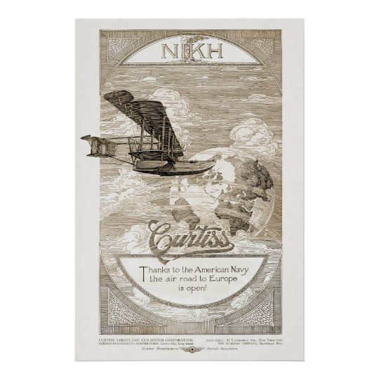 Vintage Curtiss Aeroplane Ad from 1919 Poster