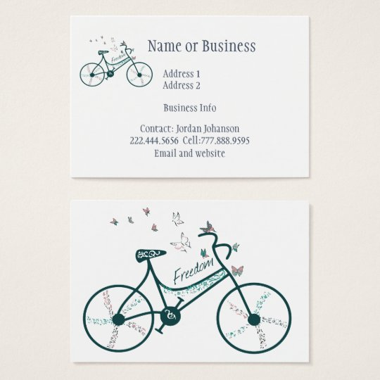 Vintage Custom Bike Logo Butterflies Business Card